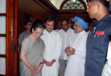 Congress president Sonia Gandhi, Rahul Gandhi, Gursharan Kaur and Manmohan Singh coming out after taking oath as a member of the Rajya Sabha, at Parliament House, in New Delhi on Friday. (UNI)