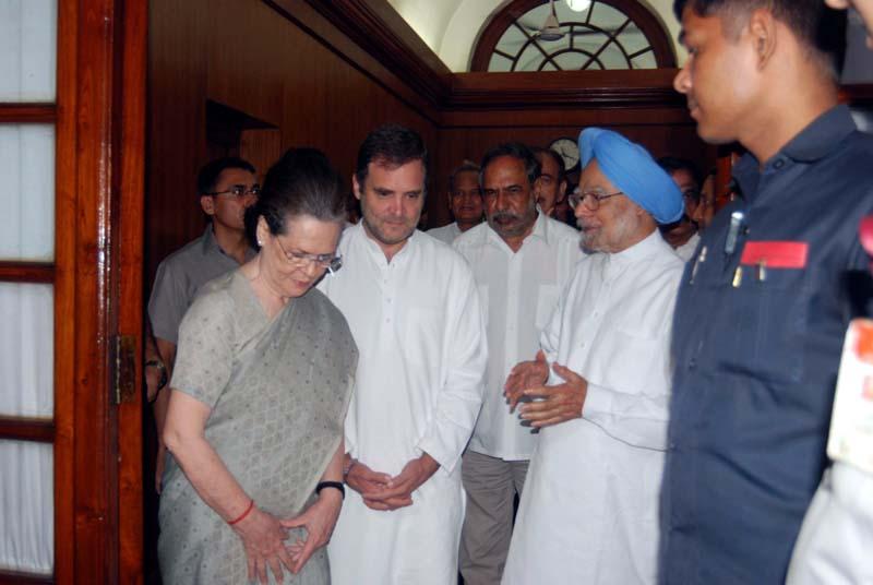 Congress president Sonia Gandhi, Rahul Gandhi, Gursharan Kaur and Manmohan Singh coming out after taking oath as a member of the Rajya Sabha, at Parliament House, in New Delhi on Friday. (UNI)
