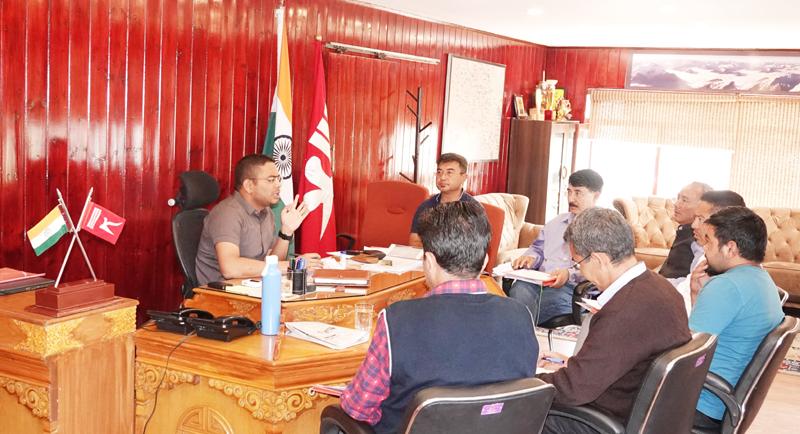 DC/CEO LAHDC Leh, Sachin Kumar chairing a meeting of officers.