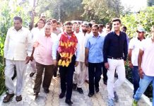 MLC Vibodh Gupta during his tour to Rajouri on Friday.