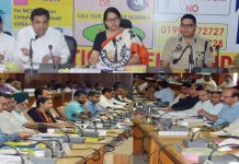 Commissioner Secretary School Education Department Sarita Chauhan chairing a meeting at Udhampur on Saturday.