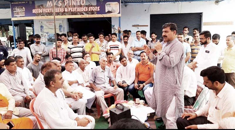 MP, Jugal Kishore Sharma addressing a gathering at a border village in Chamb Assembly segment on Wednesday.