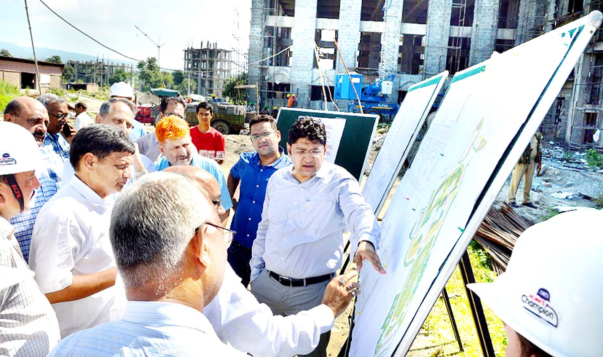 Deputy Commissioner Kathua, Raghav Langer inspecting work on GMC building on Friday.
