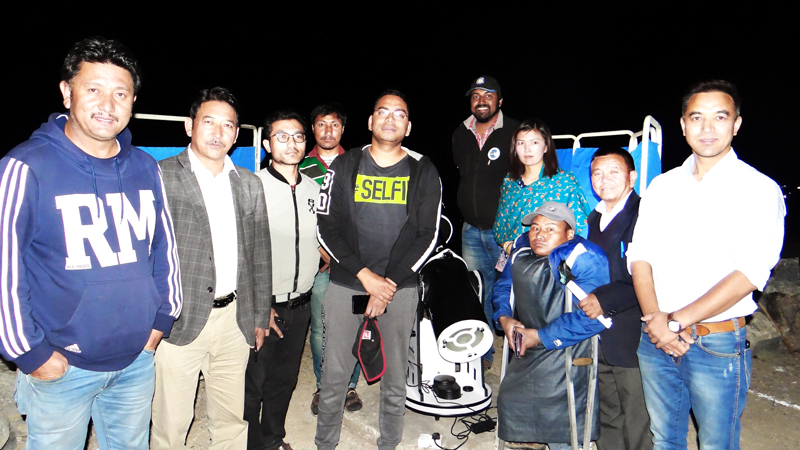Deputy Commissioner Leh, Sachin Kumar and other guest during Telescope inauguration at PAGIR complex. -Excelsior/ Morup Stanzin