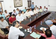 SSP Crime Branch, Jammu, Shailender Singh chairing a meeting of officers.