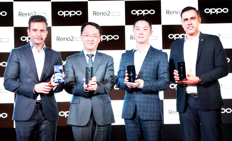 Sumit Walia, vice-president, Product & Marketing, OPPO India along with other officers of the company, launching OPPO's Reno2 series.