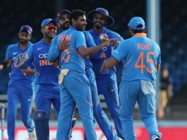 Indian players congratulating Bhuvneshwar during his 4-wkts haul against West Indies at Port of Spain.