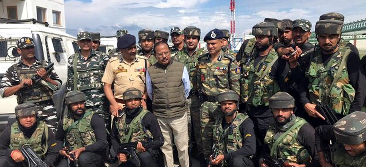 National Security Advisor Ajit Doval during meeting with security personnel in Shopian. DGP Dilbag Singh ia also seen in picture.