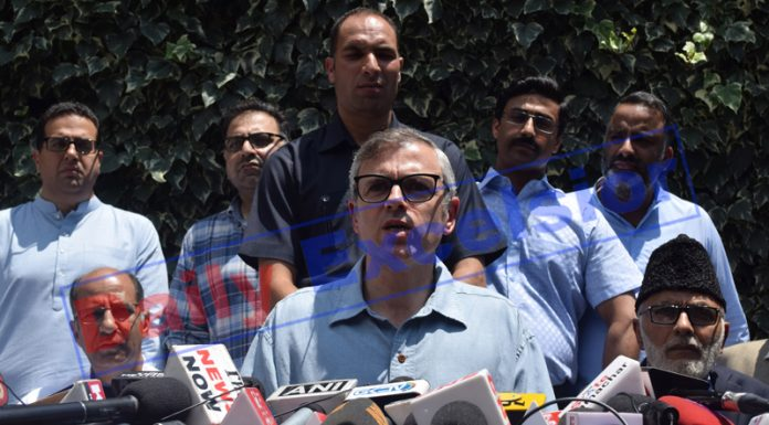 NC vice president Omar Abdullah addressing a press conference in Srinagar. —Excelsior/Shakeel