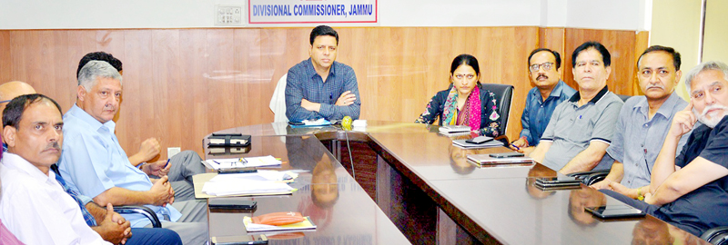 Divisional Commissioner Sanjeev Verma chairing a meeting at Jammu on Wednesday.