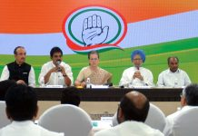 Congress president Sonia Gandhi, former Prime Minister Manmohan Singh and others during Congress Working Committee (CWC) meeting in New Delhi on Thursday. (UNI)
