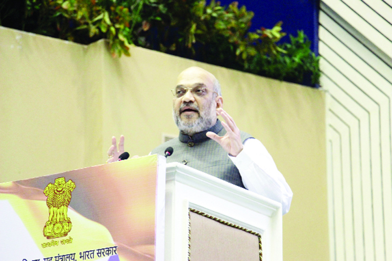Union Home Minister Amit Shah addressing on the occasion of Hindi Diwas 2019 at Vigyan Bhavan in Delhi on Saturay. (UNI)