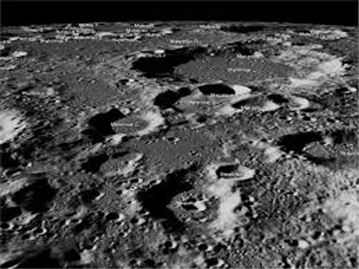 This image released by NASA, Sep. 27, 2019, shows the targetted landing site of Chandrayaan -2 lander Vikram, the high resolution image captured by Lunar Reconnaissance Orbiter Camera Quickmap fly-around of the targeted landing site image width is about 150 kilometers across the center.