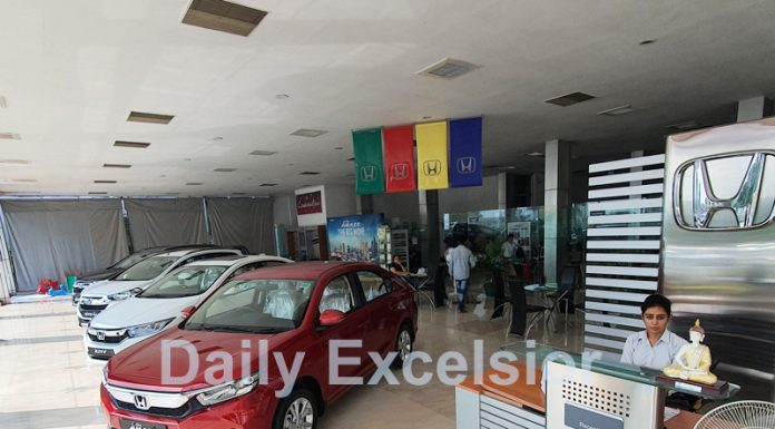 Cars displayed for sale at a showroom in Jammu. -Excelsior/Rakesh