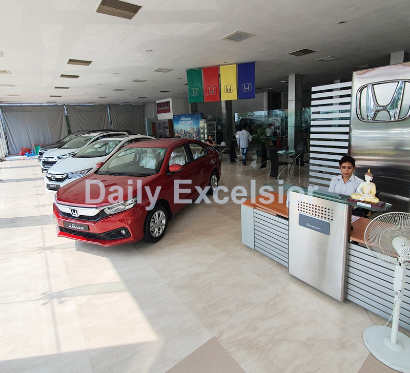 Car displayed for sale at a showroom in Jammu. -Excelsior/Rakesh