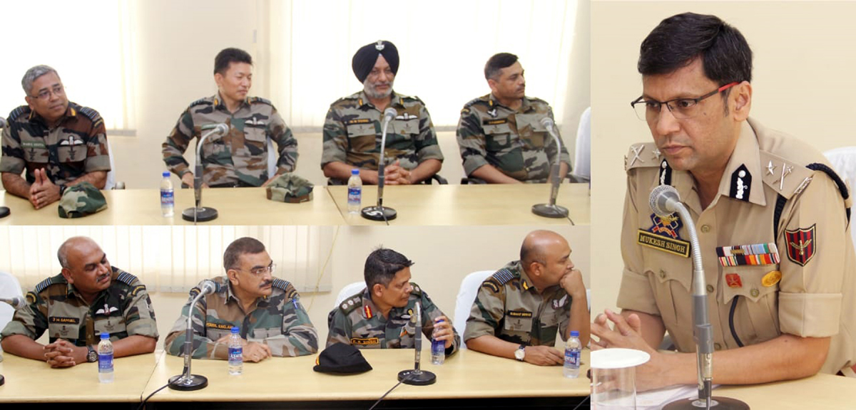 IGP Jammu Zone Mukesh Singh and other officers during a meeting at Jammu.