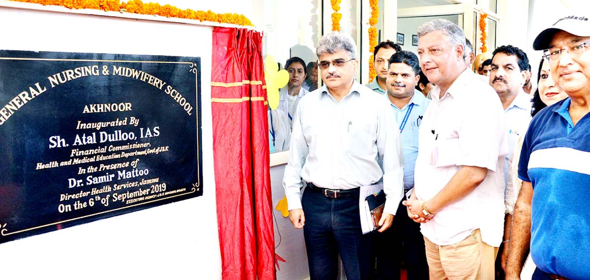 Financial Commissioner, Health and Medical Education, Atal Dulloo on the inauguration of GNM School, Akhnoor.