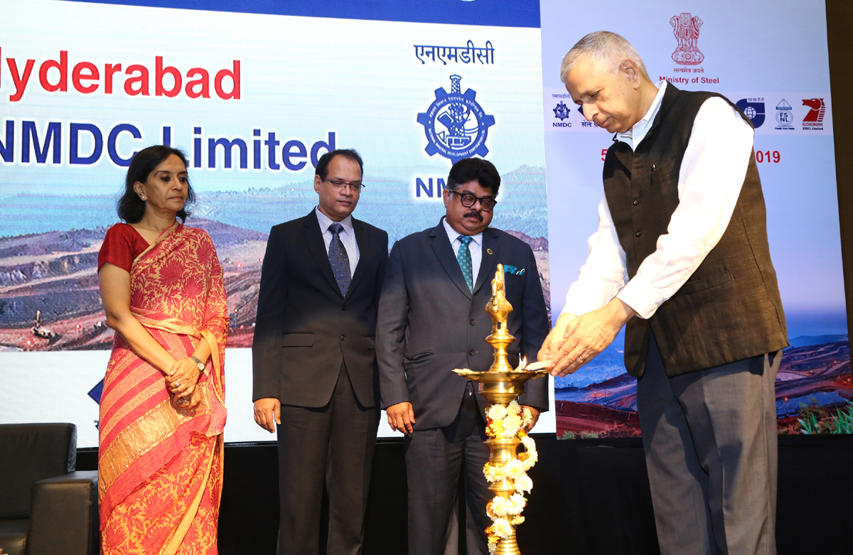 Chief guest lighting ceremonial lamp during inaugural of Vigilance Conclave by Ministry of Steel at Hyderabad.