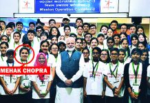 Mehak Chopra (encircled) along with other students posing for a group photograph with Prime Minister Narendra Modi.