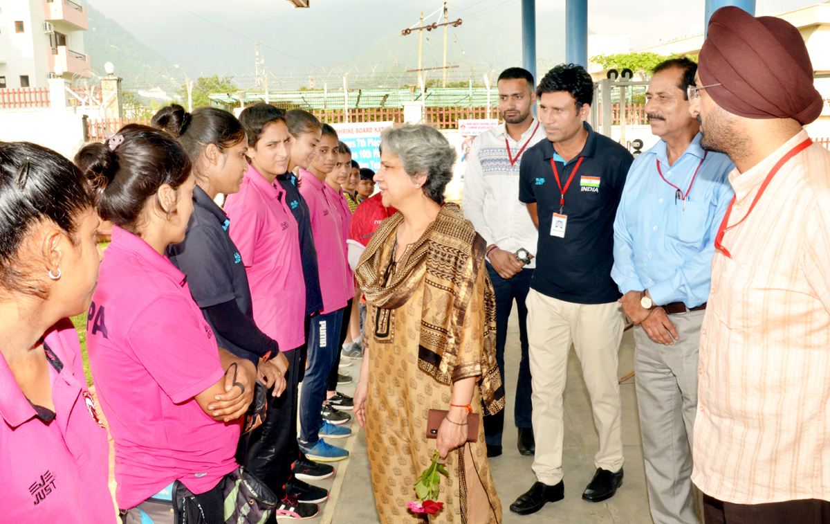 Upma Chawdhry, Union Secretary, Ministry of Youth Affairs and Sports interacting with Archers at Shrine Board's Sports Complex at Katra on Tuesday