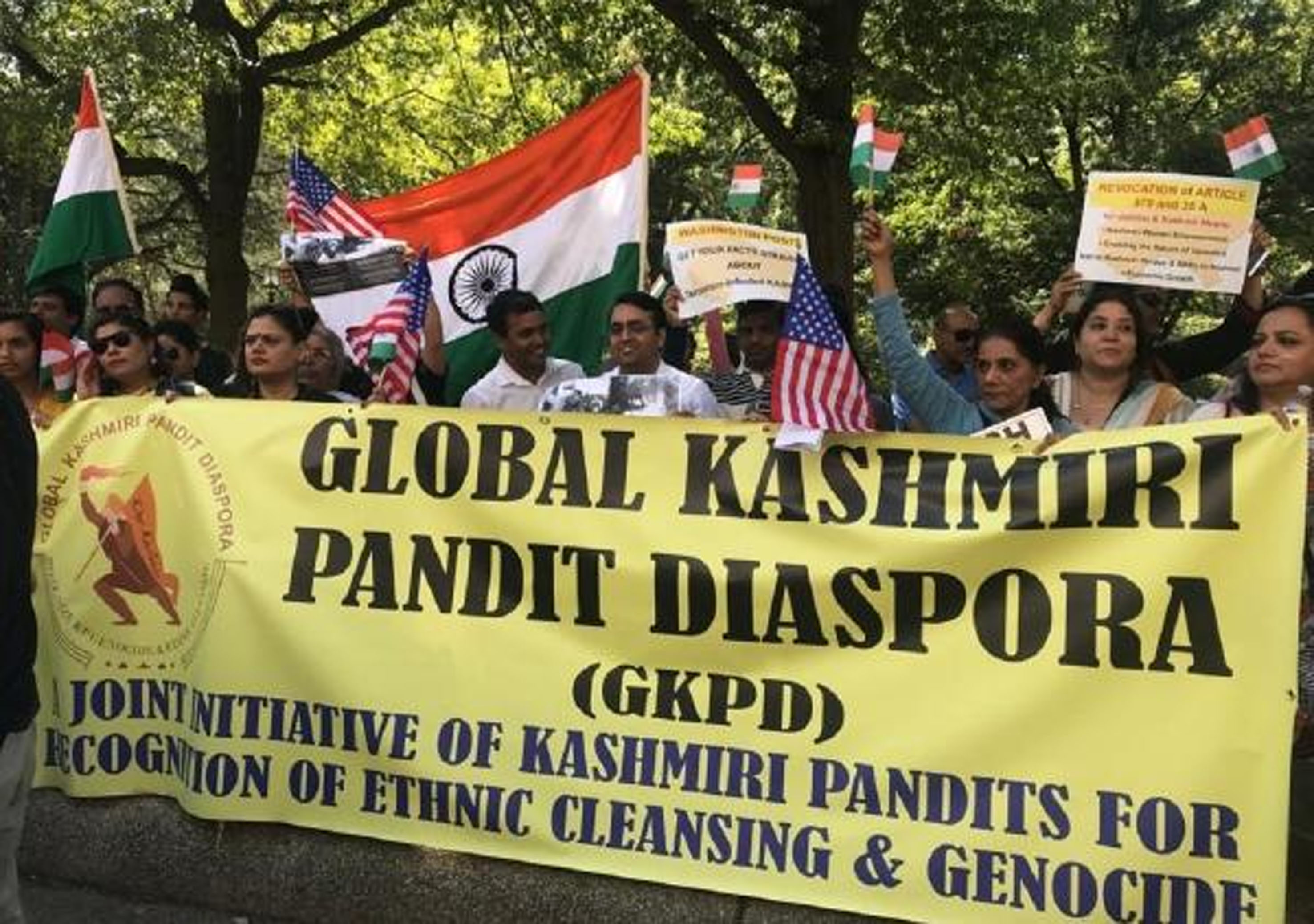 Members from the Kashmiri Pandit community staged protest against 'The Washington Post' for unfair coverage of recent developments in Jammu & Kashmir.