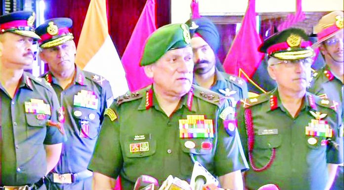 Army chief Gen Bipin Rawat speaking to media persons in Chennai on Monday.