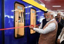 Prime Minister Narendra Modi inaugurating the Metro Coach Exhibition area, in Mumbai on Saturday. (UNI)