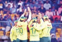 South Africa players celebrating after defeating India at Bengaluru.