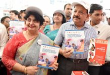 Union Minister for Health & Family Welfare, Science & Technology and Earth Sciences, Dr. Harsh Vardhan releasing the National Guidelines for Village Health, Sanitation and Nutrition Day (VHSND), at the inauguration of the 'Poshan Maah' event at Nirman Bhawan, in New Delhi on Tuesday.