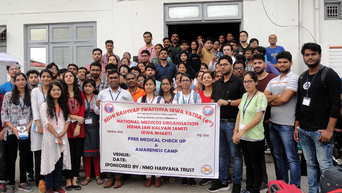 The team of Rishi Kashyap Swasthya Sewa Yatra posing for a photograph at Jammu.