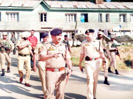 DGP Dilbag Singh interacting with police officers during visit to Anantnag on Monday.