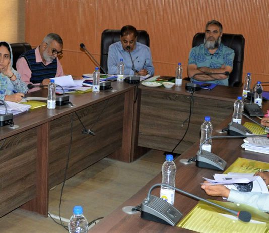 Secretary Horticulture, Manzoor Ahmad Lone chairing a meeting on Saturday.