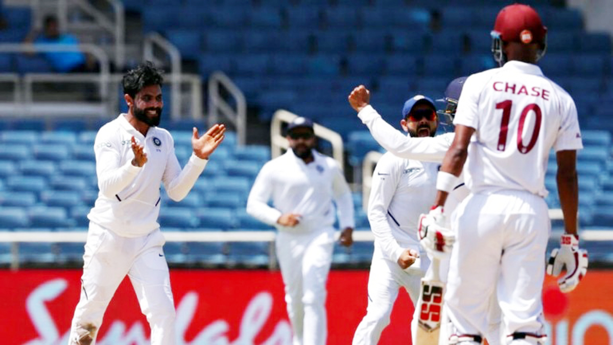 Indian players celebrating dismissal of West Indies batsman Roston Chase during 2nd Test at Kingston.