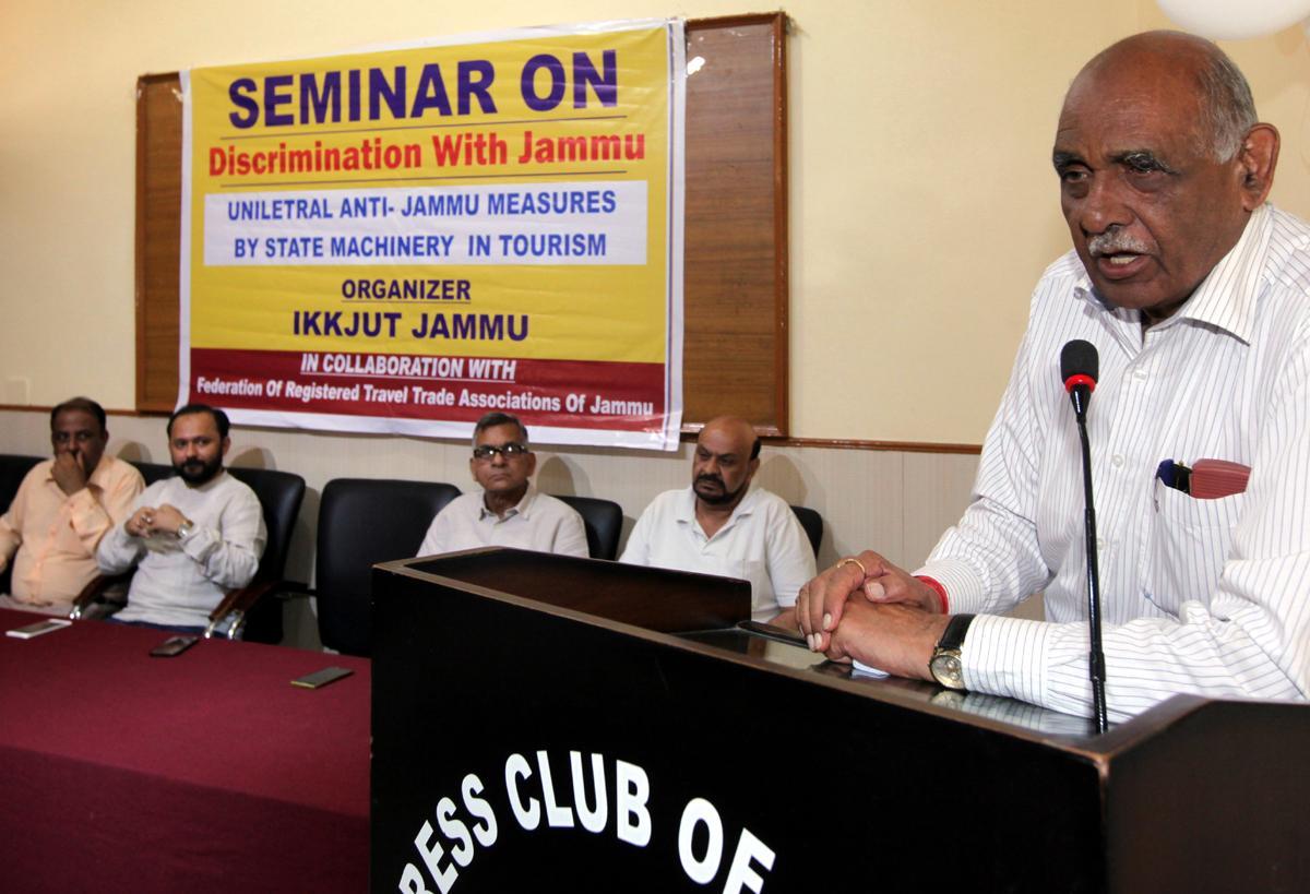 J&K VHP President, Leela Karan Sharma addressing a seminar at Jammu on Sunday. —Excelsior/Rakesh