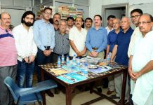 Relief Commissioner (M), TK Bhat along with other dignitaries during Neighbourhood Youth Parliament at Jagti on Sunday.
