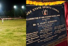 Advisor Vijay Kumar inaugurating development work at Mini Stadium Parade.