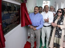 Union Minister, Dr Jitendra Singh dedicating Kunwar Viyogi Memorial Hall to public at Jammu on Sunday.