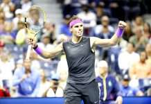 Rafael Nadal of Spain celebrates during the singles semifinal against Matteo Berrettini of Italy at the 2019 US Open in New York.