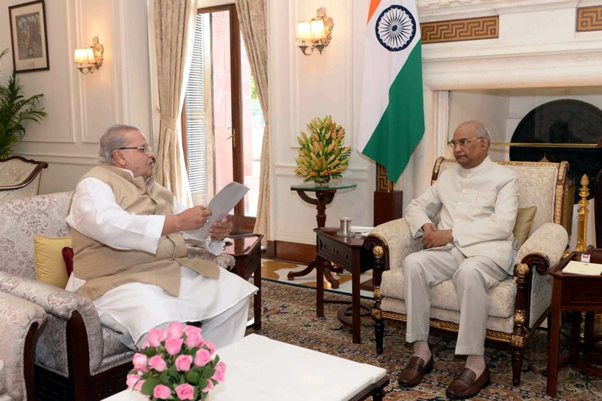 Governor Satya Pal Malik in a meeting with President Ram Nath Kovind in New Delhi on Tuesday.