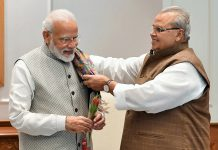 Governor Satya Pal Malik calling on Prime Minister Narendra Modi in New Delhi on Monday.