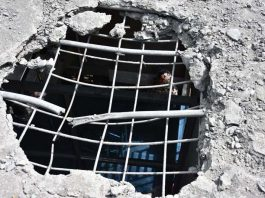 A house extensively damaged in Pakistan shelling in Balakote sector of Poonch district on Saturday. -Excelsior/Rahi Kapoor