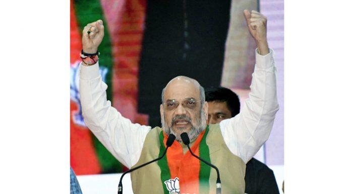 Union Home Minister Amit Shah addressing a rally at Goregaon in Mumbai on Sunday. (UNI)