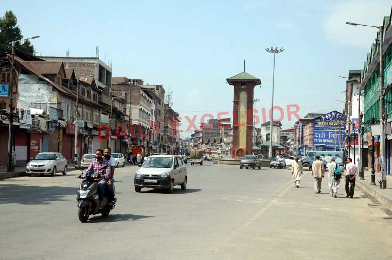 A view of city centre Lal Chowk in Srinagar on Thursday. -Excelsior/Shakeel