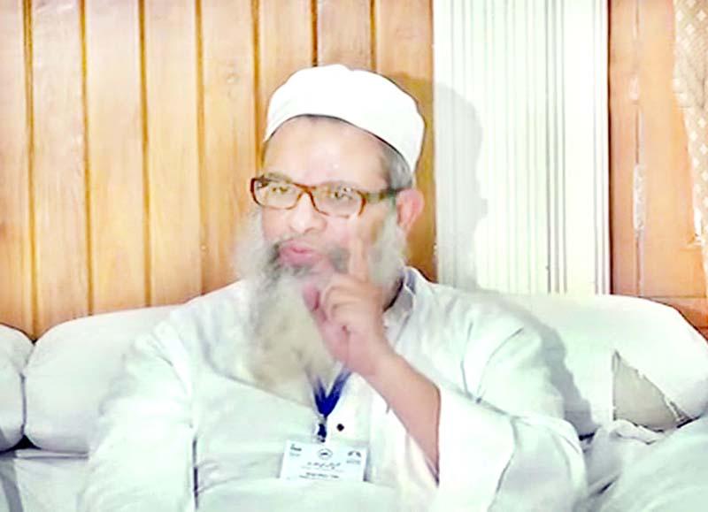 Mahmood Madani, Jamiat Ulema-e-Hind leader speaks to media in New Delhi on Thursday.