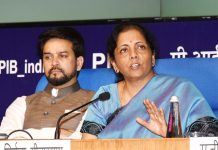 Union Minister for Finance and Corporate Affairs, Nirmala Sitharaman addressing a press conference in New Delhi on Saturday.