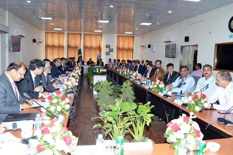 Indo-Pak officials at a meeting on Kartarpur corridor at Attari on Wednesday.