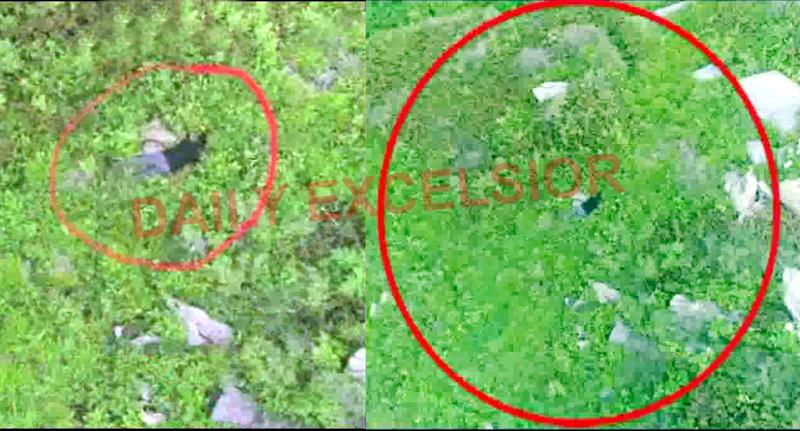 Video grab shows body of slain BAT member (left) and a bag containing weapons (right) on the LoC in Keran sector.