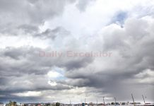 Panoramic view of clouds over Tawi bridge after morning rains on Thursday. —Excelsior/Rakesh