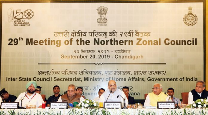 Union Home Minister, Amit Shah chairing the 29th meeting of NZC, in Chandigarh on Friday. Governor Satya Pal Malik is also seen.