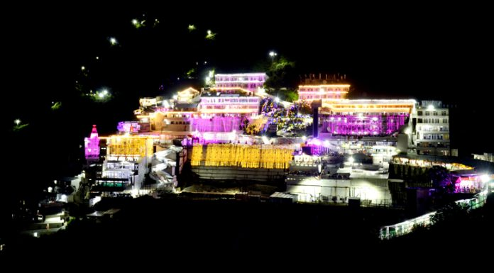 A spectacular night view of Shri Mata Vaishno Devi Ji Bhawan during Navratras.